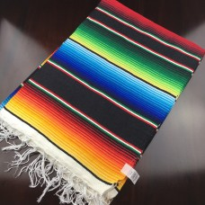 Large Multi Colour Mexican Blanket - Black