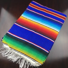 Large Multi Colour Mexican Blanket - Blue