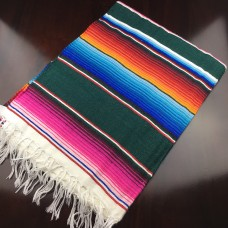 Large Multi Colour Mexican Blanket - Dark Green