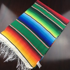 Large Multi Colour Mexican Blanket - Green