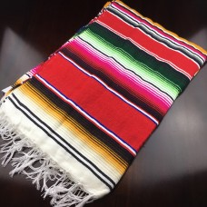 Large Multi Colour Mexican Blanket - Red (BrownTail)