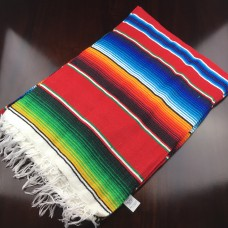Large Multi Colour Mexican Blanket - Red (GreenTail)