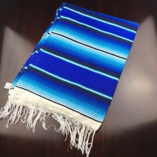 Large Two Tone Mexican Blanket - Blue