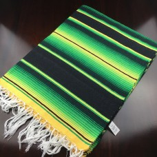 Large Two Tone Mexican Blanket - Green/Black