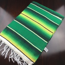 Large Two Tone Mexican Blanket - Green/Yellow