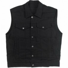 Biltwell Prime Cut Collared Denim Vest - Black - Small