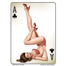 Ace Of Clubs Pinup Sticker - Medium